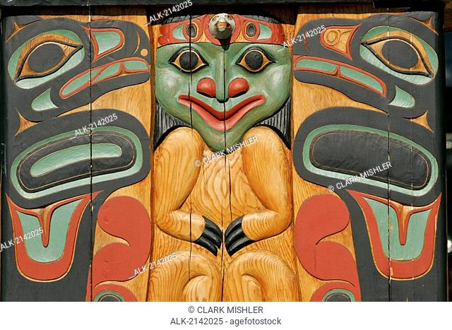 Traditional Tlingit Carving On The Base Of A Totem Pole In Ketchikan, Alaska