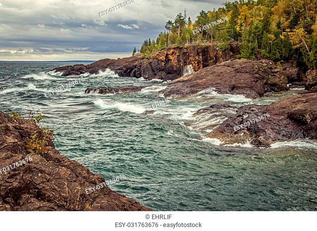 Autumn on the shores of Lake Superior. Presque Isle Park in Marquette, Michigan