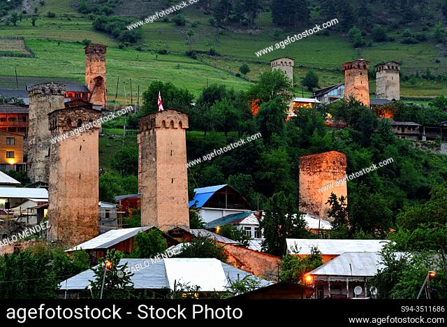 Defensive towers of Mestia, Svanetia region, Georgia