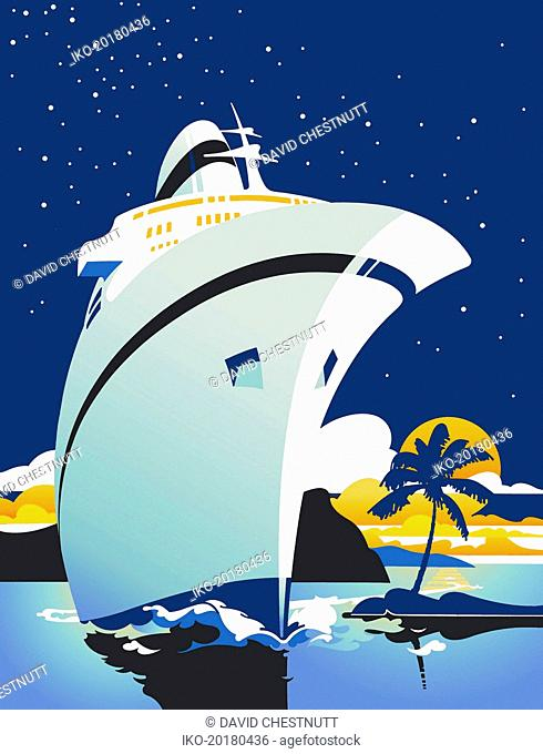 Luxury cruise ship sailing in tropics at night