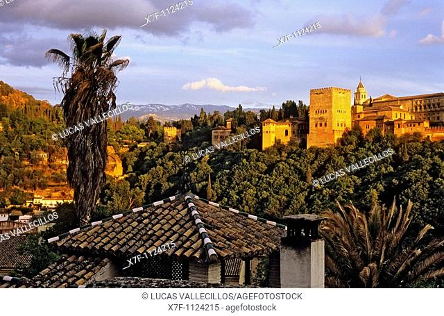 Alhambra as seen from Albaicín quarter  Granada, Andalucia, Spain