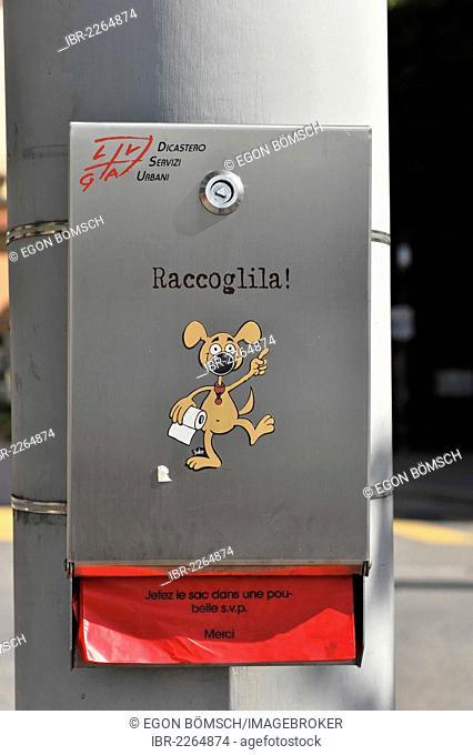 Raccoglila, bags for dog dirt, Lugano, Canton Ticino, Switzerland, Europe