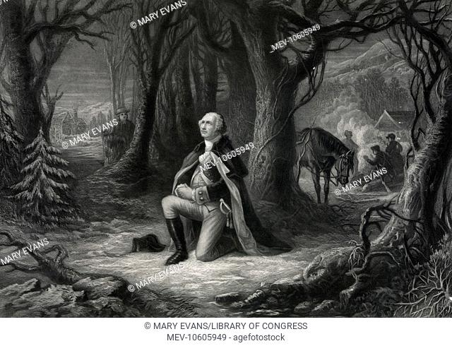 The prayer at Valley Forge. Print showing George Washington, kneeling on one knee, praying in a grove of trees, his hores nearby