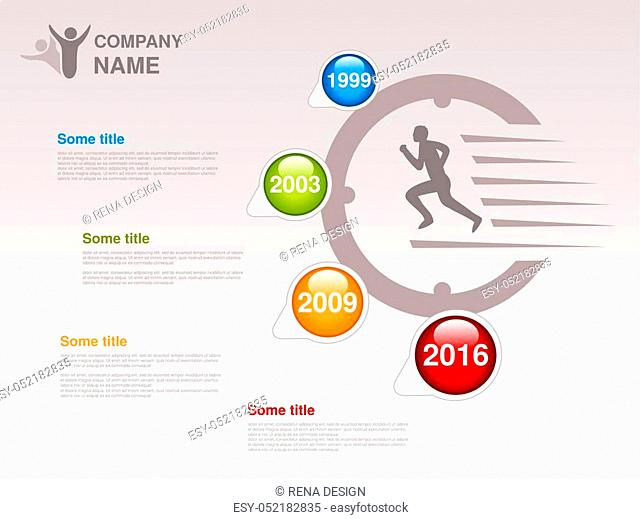 Vector timeline. Infographic template for company. Timeline with colorful milestones - blue, green, orange, red. Pointer of individual years