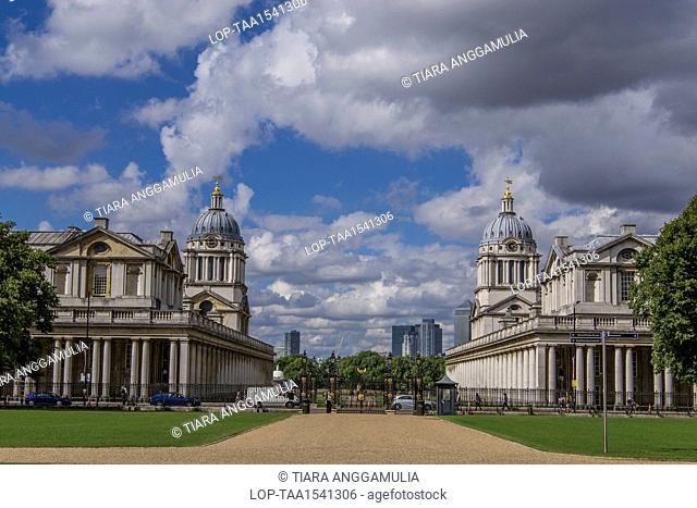 England, London, Greenwich. A view towards Queen Mary Court and King William Court in Greenwich