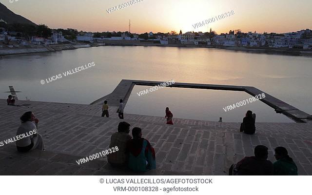 Ghats, holy lake and the village of Pushkar,pushkar, Rajasthan, india