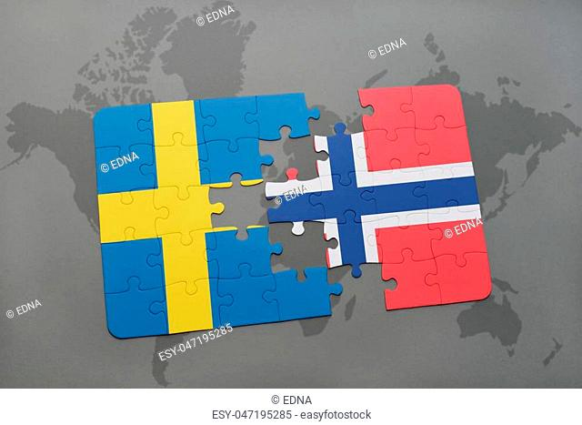 puzzle with the national flag of sweden and norway on a world map background. 3D illustration
