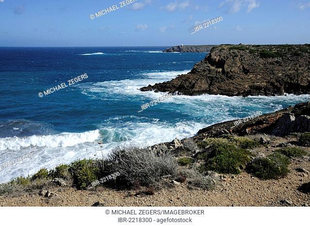 Cliffs, steep coast near Arenal d'en Castell, Minorca, Menorca, Balearic Islands, Mediterranean Sea, Spain, Europe