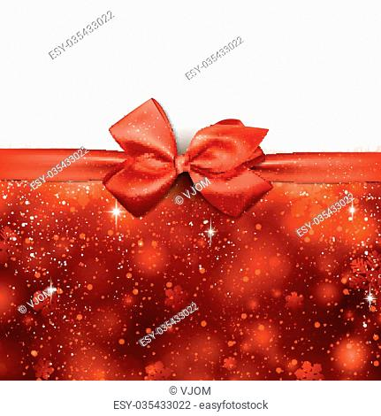 Red winter abstract background. Christmas background with ribbon and bow. Vector