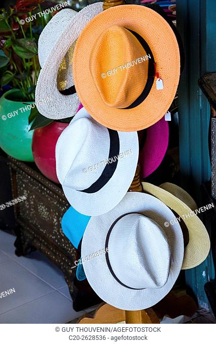 Hats for sale, tourist shop, Marrakech, Morocco