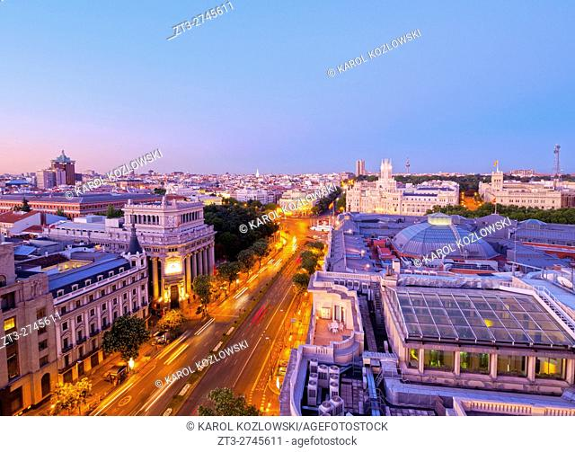 Spain, Madrid, Twilight skyline with Alcala Street and Cybele Palace