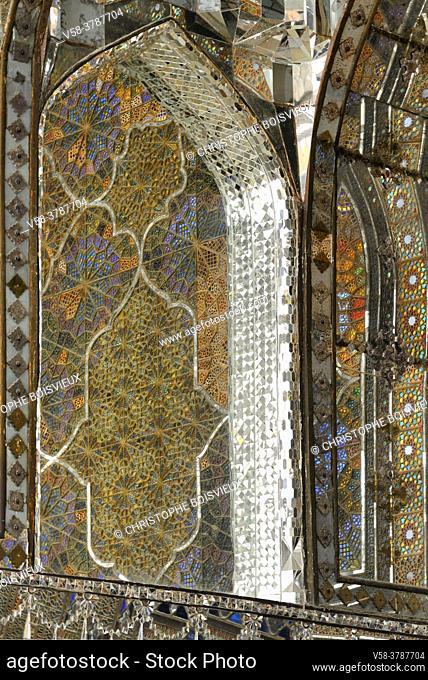 Iran, Tehran, Unesco World Heritage Site, Golestan palace, Takht e Marmar terrace, The mirror inlaid walls