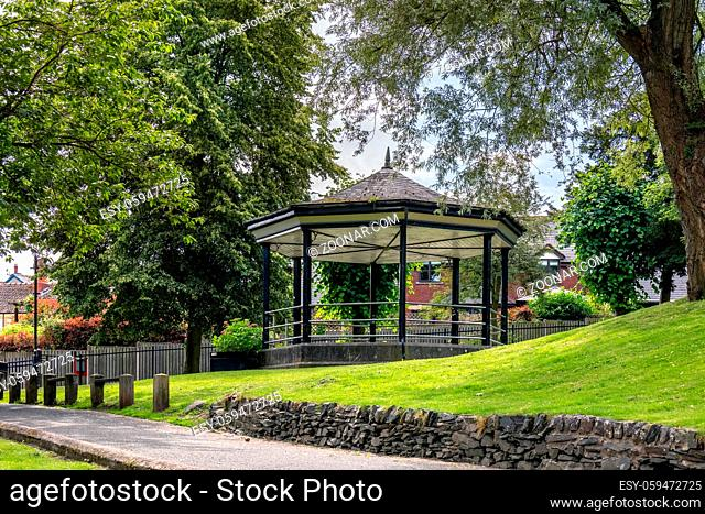 LLANGOLLEN, DENBIGHSHIRE, WALES - JULY 11 : View of the bandstand in LLangollen, Wales on July 11, 2021