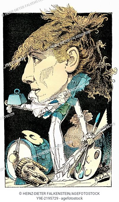 Sarah Bernhardt, 1844-1923, a French stage and film actress, political caricature, 1882, by Alphonse Hector Colomb pseudonym B