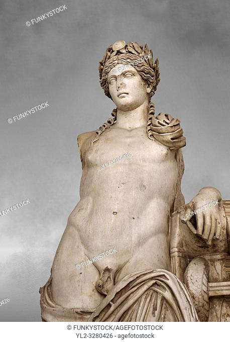 Detail of a second Century Roman statue of Apollo excavated from the Theatre of Carthage. The Bardo National Museum, Tunis, Tunisia. Inv No C939