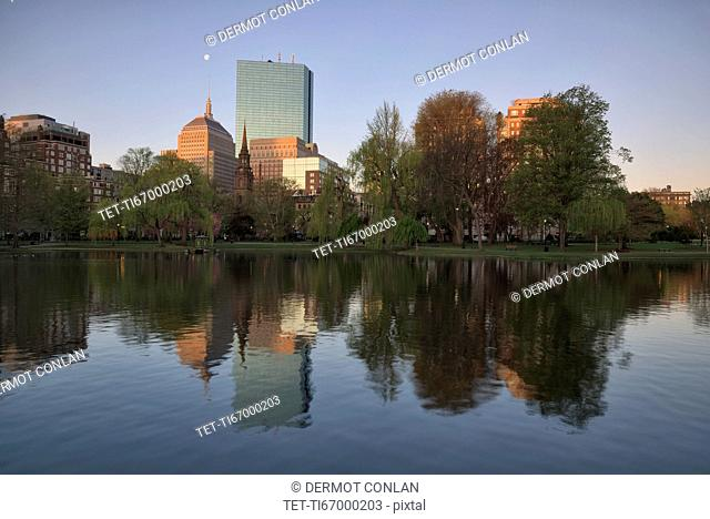 Buildings in Copley Square in Boston Public Garden pond