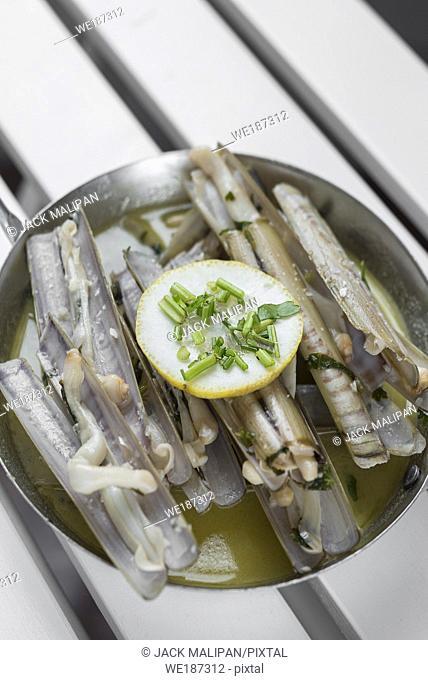 navajas razor clams tapas sauteed with garlic butter white wine sauce in santiago de compostela spain