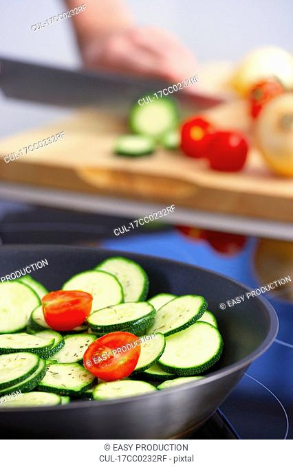 green vegetable in a pan