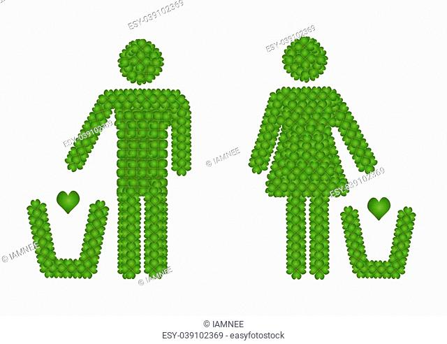 Fresh Green Four Leaf Clover Forming A Man and A Woman Throwing A Hearth into A Trash Can Icon, Isolated on White Background