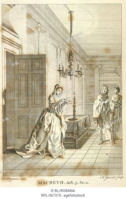 Lady Macbeth looking at her hands. Image taken from The Works of Shakespear. In six volumes. Carefully revised and corrected by Sir T