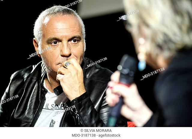Actor and comedian Giorgio Panariello being interviewed by Piera Detassis, director of Ciak, during the event Panorama d'Italia. Pisa, Italy