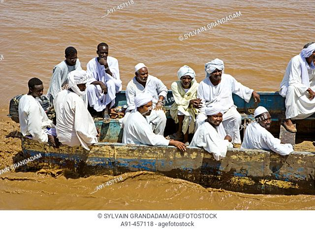 Ferry on Nile River from Sesebi to Dalgo. Upper Nubia, Sudan
