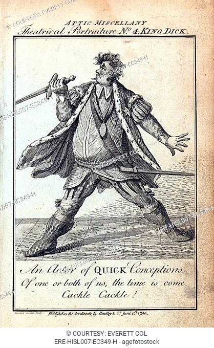 Humorous caricature of an actor portraying Richard III in Shakespeare's HENRY VI. The caption reads, An actor of quick conceptions