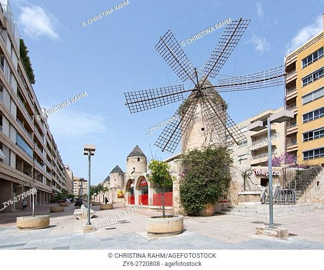 Windmills hosting restaurants in the area Quattro Molinos in Palma de Mallorca, Balearic islands, Spain