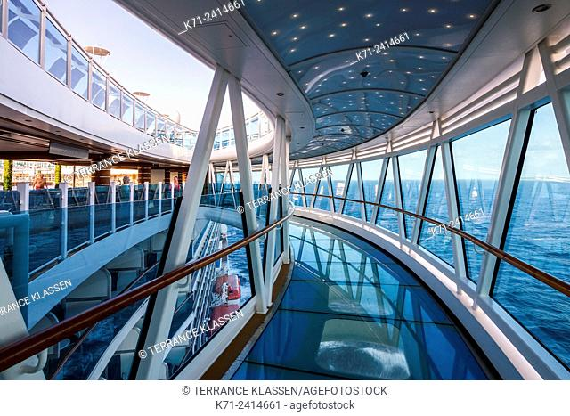 The skywalk over the water on the Regal Princess cruise ship