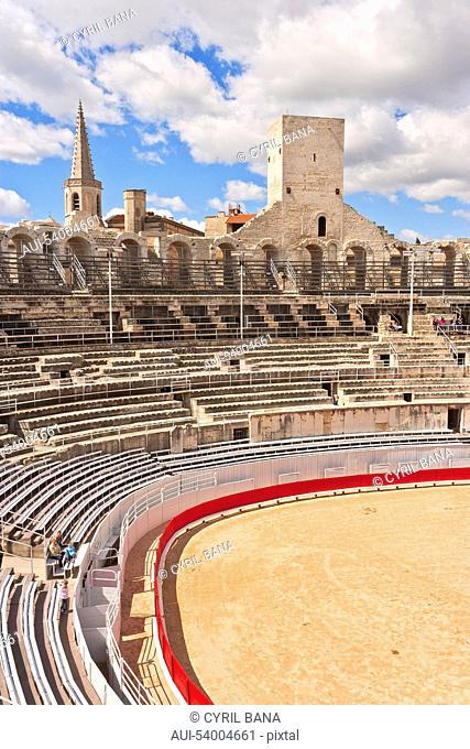 France, Arles, Roman amphitheatre, arcades, interior arena