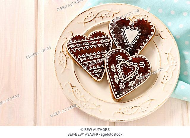 Gingerbread cookies in heart shape. Party decoration