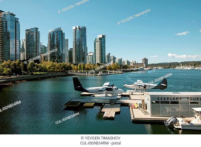 Sea plane and skyline, Vancouver, British Columbia, Canada