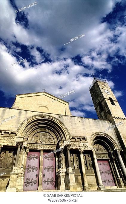 Facade of the Saint-Gilles abbey, a Benedictine monastery in Saint-Gilles, Gard, France