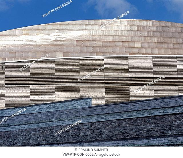 WELSH MILLENNIUM CENTRE, CARDIFF BAY, CARDIFF, WALES, UK, PERCY THOMAS ARCHITECTS, EXTERIOR, DETAIL: ABSTRACT MATERIALS PALLET