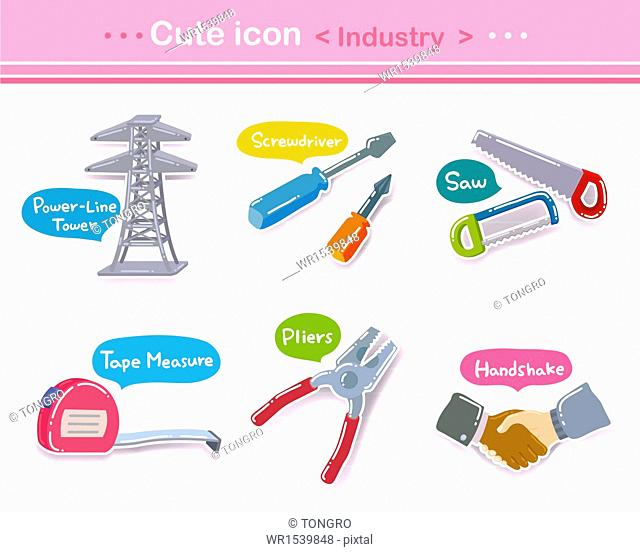 a set of different cute icons related to industry