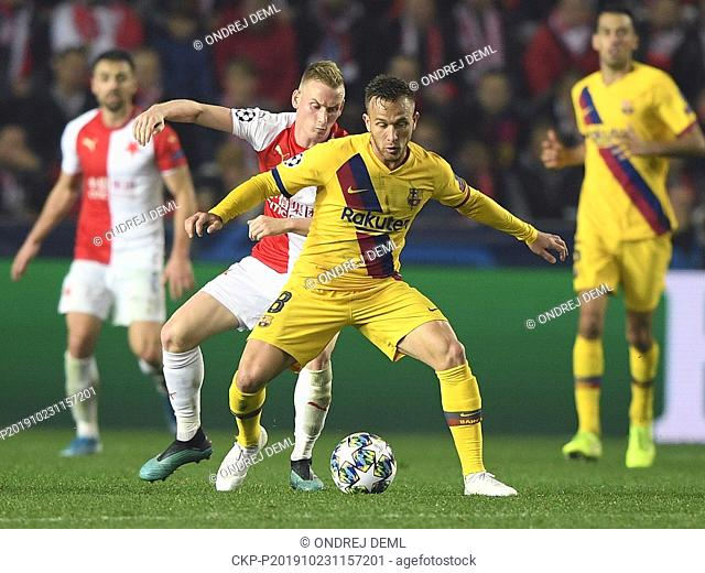 L-R Petr Sevcik (Slavia) and Arthur (Barcelona) in action during the Football Champions League, group F, 3rd round, match SK Slavia Praha vs FCBarcelona