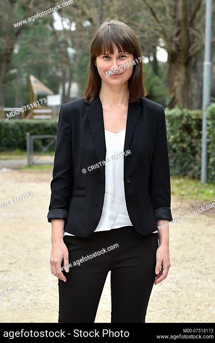 Romanian actress Cristina Flutur during the photocall at the Casa del Cinema for the presentation of the film Villetta con ospiti