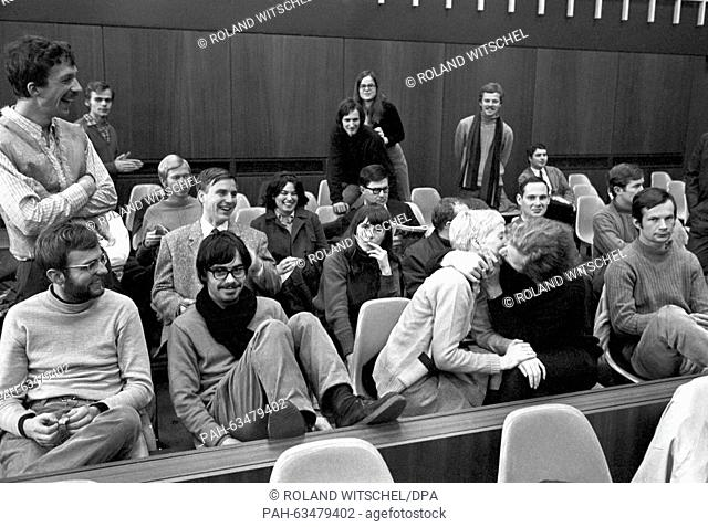 View of the audience of the process against five members of the SDS (Socialist German Student Union) in Heidelberg on 03 February 1969