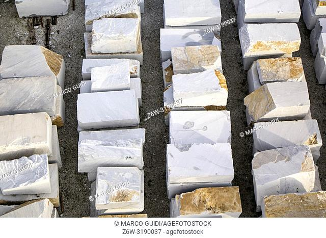 Aerial view of an area used as a marble warehouse awaiting processing.