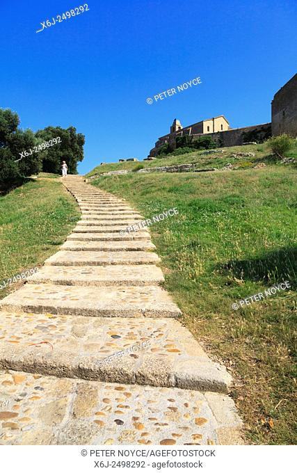 Sloping steps leading up to Church of Saint Sauveur at Fos-sur-Mer in France