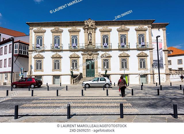 Original 18th century Facade (1727) of Ribeiro Conceicao Theater of Lamego. Viseu District, Norte Region, Portugal, Europe