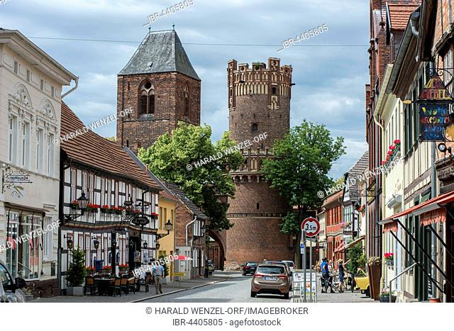 Old town, Long Street with Neustädter Tor, gate, and St. Nikolai, Hanseatic City Tangermünde, Saxony-Anhalt, Germany