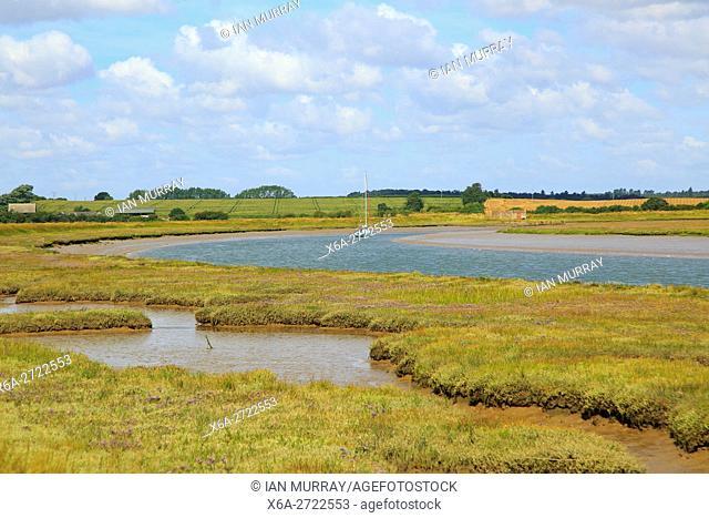 Butley Creek river landscape, Boyton, Suffolk, England, UK