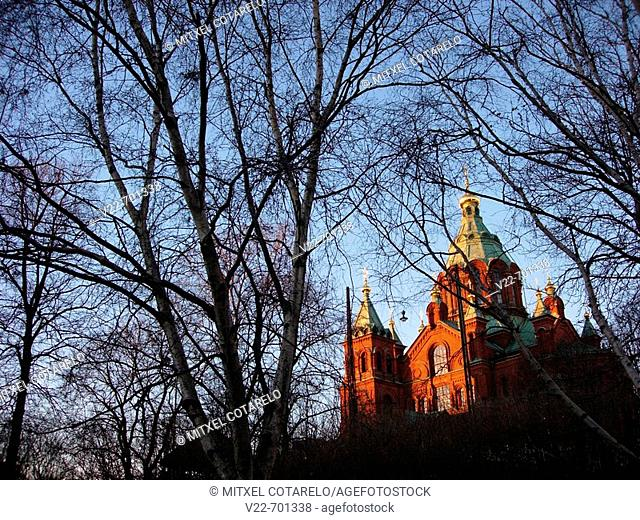 Uspensky cathedral. Largest Russian Orthodox church in western Europe, Helsinki,  Finland