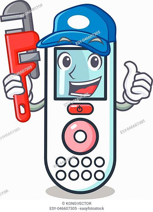 Plumber remote control mascot cartoon vector illustration
