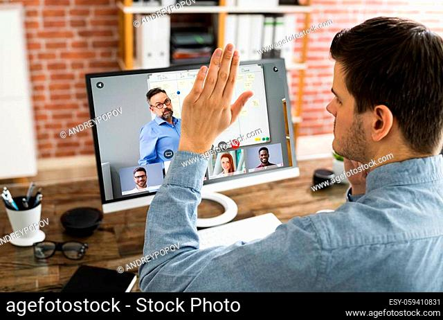 Raising Hand To Ask Questions In Training Video Conference
