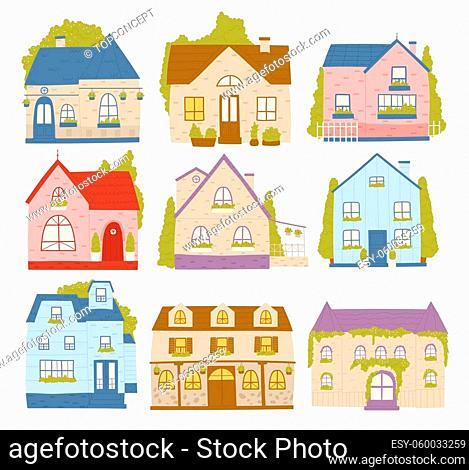 Town houses, neighborhood residence cartoon buildings vector illustration set. Cartoon cute colourful cottage cabin houses collection