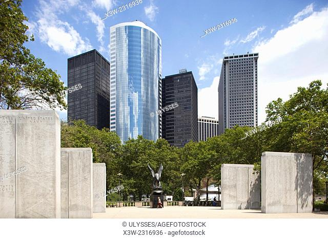 monument to the fallen of the war 1941-1945, battery park, financial district, Manhattan, New York, Usa, America