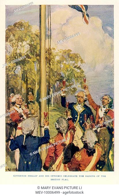 Captain Arthur Phillip raising the English flag at Sydney, Australia, marking the foundation of New South Wales of which he becomes the first Governor