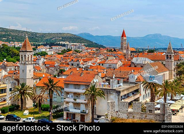 View of Trogir old town from Kamerlengo fortress, Croatia